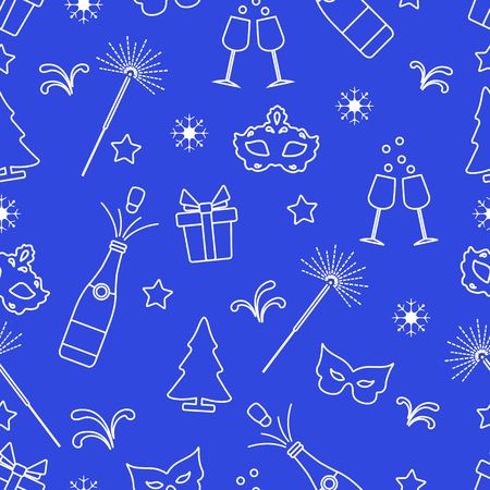 Seamless pattern with new year symbols. Gifts, fireworks, bottle and glasses with champagne, christmas tree, mask, stars, snowflakes.