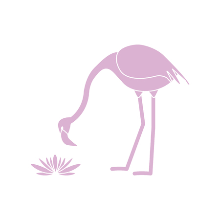 Vector illustration with flamingo bird and water lilies flowers. Design for poster or print. Illustration