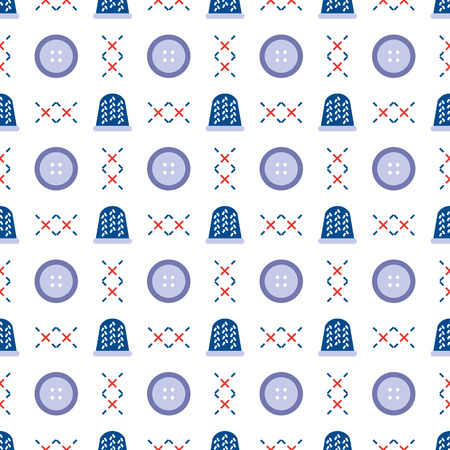 Seamless pattern with thimbles and buttons. Sewing and needlework background. Template for design, fabric, print. Иллюстрация