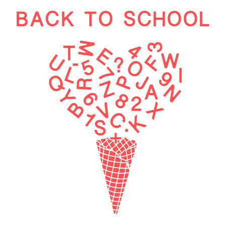 Back to school. Vector illustration with ice cream cone, letters, numbers.