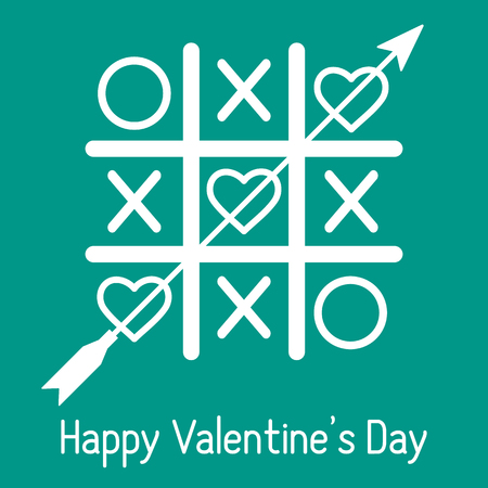 Vector illustration of tic-tac-toe game with hearts and arrow. Happy Valentine's Day. Design for greeting card, party card, banner, poster or print.