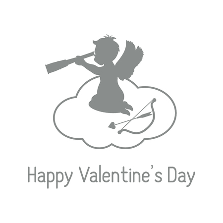 Vector illustration with cupid sits on a cloud and looks into a telescope, near the bow and arrow. Love symbol. Design for banner, poster or print.
