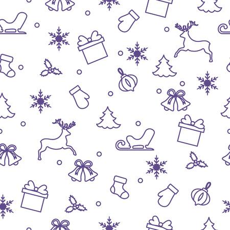 Happy New Year 2019 and Christmas seamless pattern. Winter illustration with mittens, sled, gift, snowflakes, deer, bell, Christmas sock, mistletoe, Christmas tree.