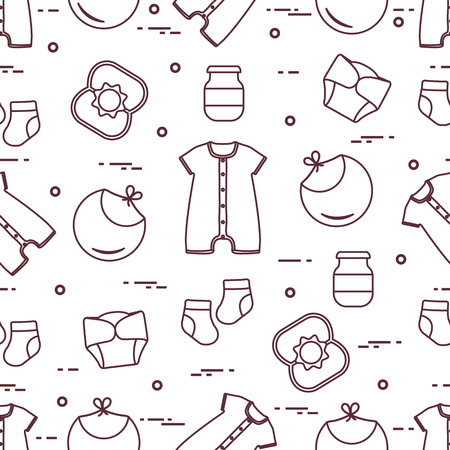 Seamless pattern with goods for babies. Newborn baby background. Bib, baby food can, rattle, socks, diapers, bodysuit. 矢量图像