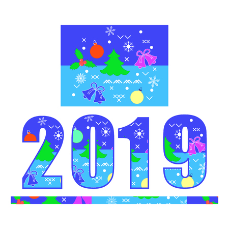 Numbers 2019 decorated with Christmas symbols. Festive background. Mistletoe, bells, Christmas balls, snowflakes, Christmas tree.