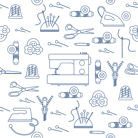 Seamless pattern with zipper, needles, thimble, pins, threads, buttons, scissors, sewing machine, iron. Sewing and needlework background. Template for design, fabric, print.