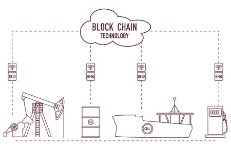 Blockchain. RFID technology. Extraction, transportation, storage, sale of petroleum products. From the supplier to the consumer. 写真素材 - 112700198