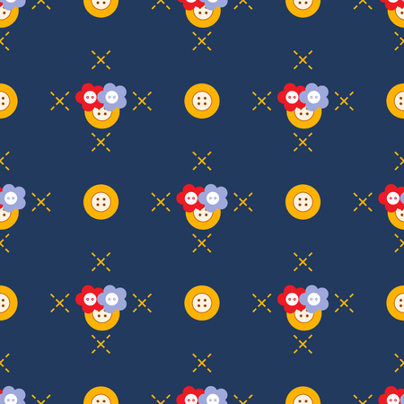 Seamless pattern with buttons. Sewing and needlework background. Template for design, fabric, print. Illustration