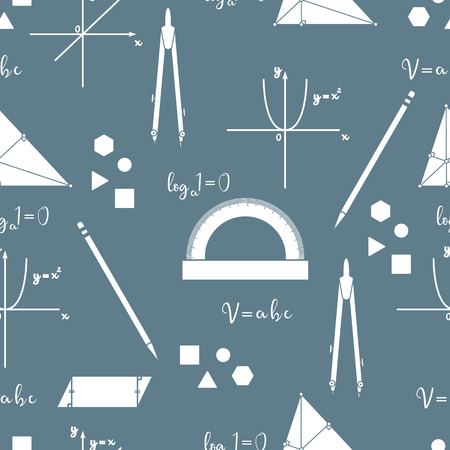 Mathematical scientific vector seamless pattern with geometry plots, tools and formulas. Education elements. Compasses, protractor, pencil, graphics, straight, parabola, formulas, triangle, parallelogram. Ilustrace