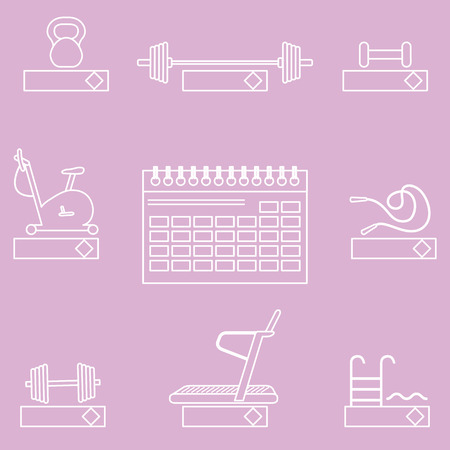 Time to fitness. 2019 fitness concept with sports equipment. Healthy lifestyle. Calendar, weight, barbell, dumbbells, jumpers, treadmill, pool, exercise bike. Vecteurs