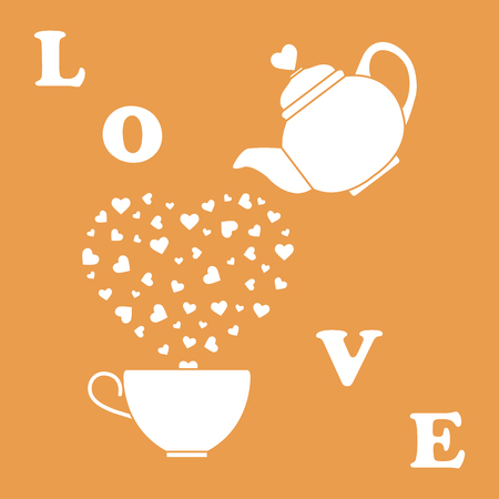 Vector illustration with kettle, cup of tea, hearts. Happy Valentine's Day. Design for party card, banner, poster or print.