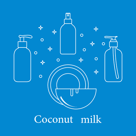 Coconut milk for cosmetics and care products. Glamour fashion vogue style. Banco de Imagens - 112700248