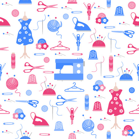 Seamless pattern with clew, knitting needles, mannequin, dress, hangers, zipper, needles, thimble, pins, threads, buttons, scissors, sewing machine, iron. Sewing and needlework background.