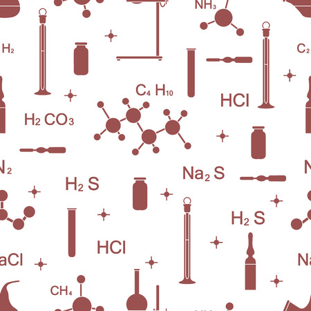 Scientific vector seamless pattern with flasks, test tubes, beakers, tools and formulas. Education elements. Chemistry, biology, medicine.