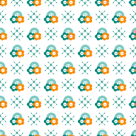 Seamless pattern with buttons. Sewing and needlework background. Template for design, fabric, print. Ilustração
