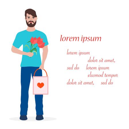 Junger Mann mit Blumen und Geschenk. Geburtstag, Valentinstag, Muttertagsvektorhintergrund. Design für Grußkarten, Banner, Poster oder Druck.