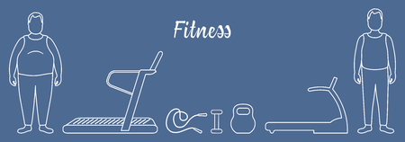 Time to fitness and sports. Healthy lifestyle. Men involved in sports. Slimming. Sports equipment: treadmills, skipping pins, dumbbells, kettlebell.