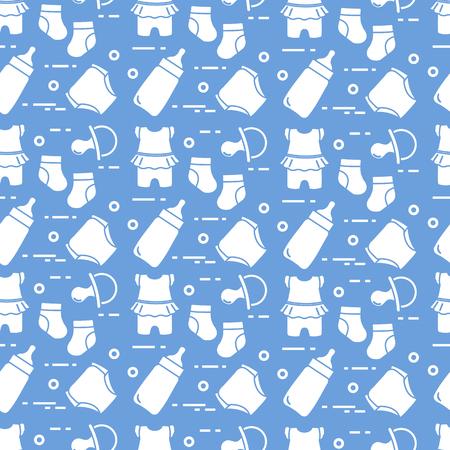 Nahtloses Muster mit Waren für Babys. Neugeborenes Baby Hintergrund. Babyflasche, Nippel, Socken, Windeln, Body.