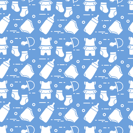 Seamless pattern with goods for babies. Newborn baby background. Baby bottle, nipple, socks, diapers, bodysuit.
