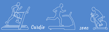 Time to fitness and sports. Healthy lifestyle. People involved in sports. Treadmills, exercise bike. Illustration