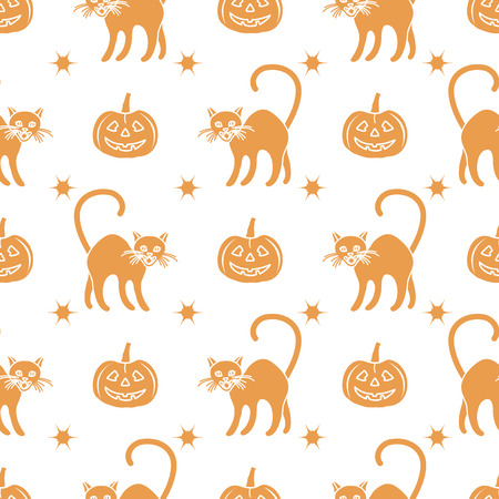Halloween 2019 vector seamless pattern with pumpkins and witch cats. Design for party card, wrapping, fabric, print.