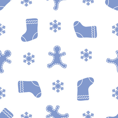 Seamless pattern with gingerbread man, christmas socks, snowflakes. Christmas and New Year 2019 background. Design for packaging paper, fabric and other print.