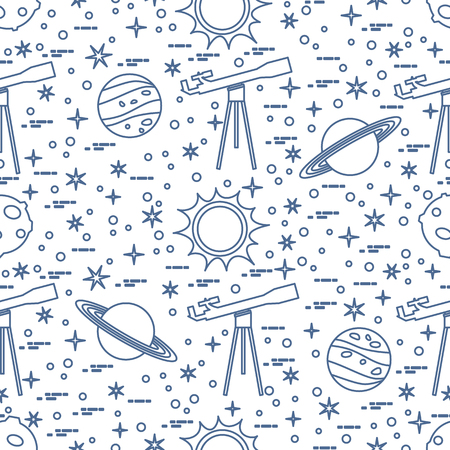Seamless pattern with telescope, sun, planets, stars. Space exploration. Astronomy. Science