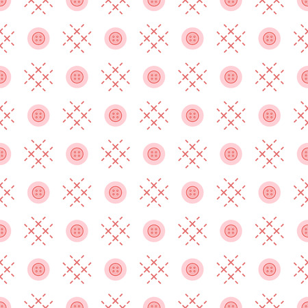 Seamless pattern with buttons. Sewing and needlework background. Template for design, fabric, print. 矢量图像