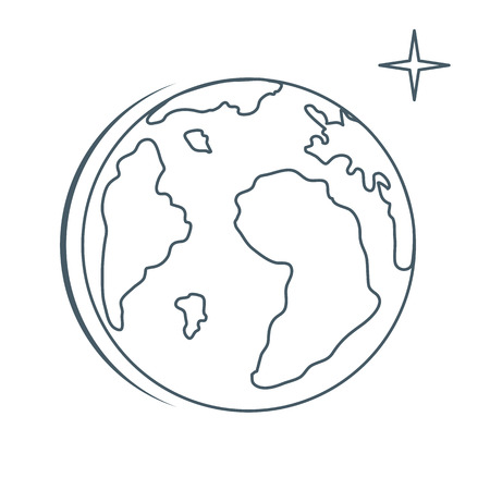 Planet Earth vector illustration. World vector icon. Earth Day. Design for astronomy apps, websites, print.