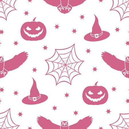 Halloween 2019 vector seamless pattern with cobweb, eagle owl, pumpkin, hat, witch, stars. Design for party card, wrapping, fabric, print. Illustration