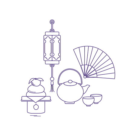 Eastern New Year symbols. Chinese lantern, kettle with two cups, fan, kagami mochi. Festive traditions of different countries.