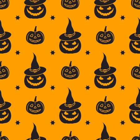 Halloween 2019 vector seamless pattern with pumpkins, witch hat. Design for party card, wrapping, fabric, print. Illustration