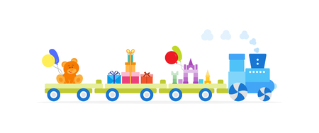 Funny vector illustration with train carries toys: constructor, blocs, bear, gifts, balloons. Happy New Year 2019, Christmas, Birthday. Sale, shopping concept. Illustration