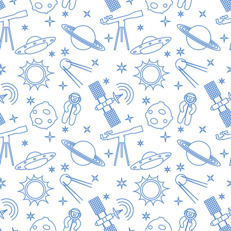 Seamless pattern with telescope, UFO, satellite, planets, astronaut, orbital station, sun, stars. Space exploration. Astronomy. Science.