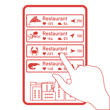 Application of augmented reality: AR for navigation in city or shopping center. Choosing fish restaurant, seafood restaurant by location, comments and likes by phone.