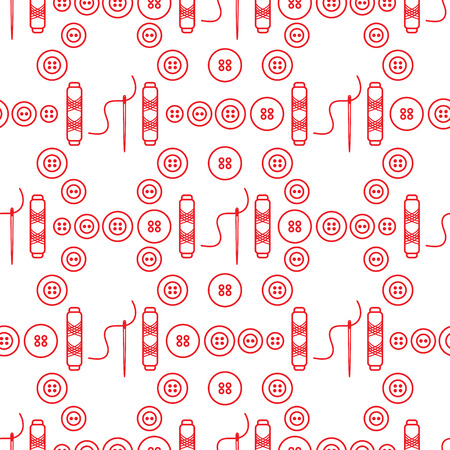 Seamless pattern with needles, buttons, threads. Sewing and needlework background. Template for design, fabric, print. Illustration