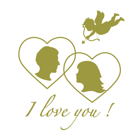 Vector illustration with cupid archery and a couple in love. Happy Valentine's Day. Design for party card, banner, poster or print.