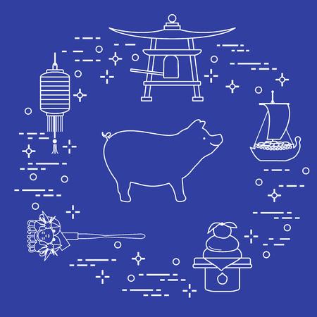 Tarjeta de feliz año nuevo 2019. Símbolos de año nuevo en Japón. Jabalí, linterna, campana, mochi, naranja, barco del tesoro. Tradiciones festivas de diferentes países.