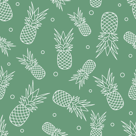 Seamless pattern with pineapples. Tropical fruit. Summer background.