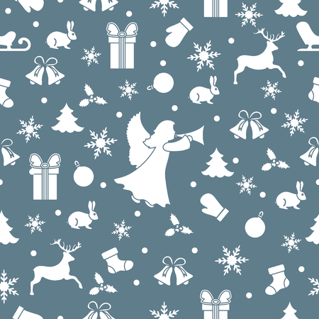 Happy New Year 2019 and Christmas seamless pattern. Winter illustration with angel, mittens, rabbit, sled, gift, snowflakes, deer, bell, Christmas sock, ball, mistletoe, Christmas tree.