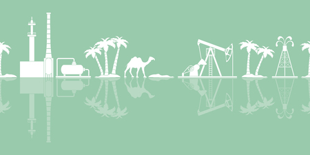 Vector seamless pattern with equipment for oil production, refinery plant, camel, palm trees. Heading or footer banner. Stock Illustratie