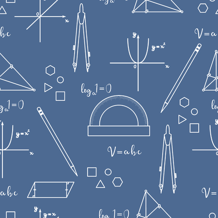 Mathematical scientific vector seamless pattern with geometry plots, tools and formulas. Education elements. Compasses, protractor, pencil, graphics, straight, parabola, formulas, triangle, parallelogram. Illustration