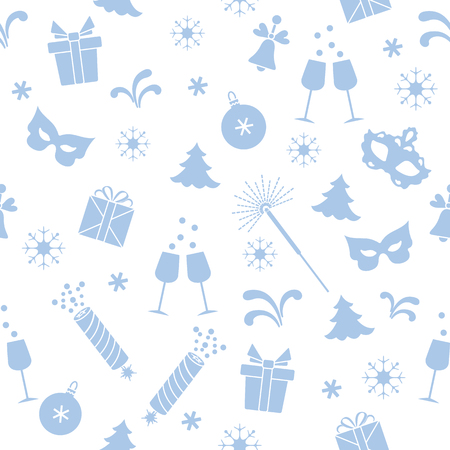 Seamless pattern with new year symbols. Gifts, firecrackers, fireworks, bead, glasses with champagne, bell, christmas tree, mask, calendar, stars, snowflakes. 版權商用圖片 - 127215560