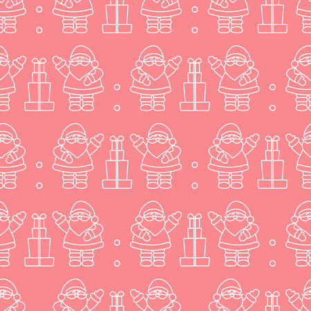 Happy New Year 2019 and Christmas seamless pattern. Vector illustration with Santa Claus, gifts . Design for wrapping, fabric, print.