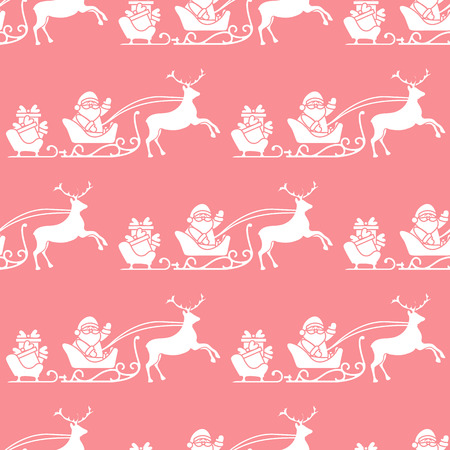 Christmas and Happy New Year 2019 seamless pattern. Vector illustration Santa Claus with gifts in sleighs with reindeers. Design for print.