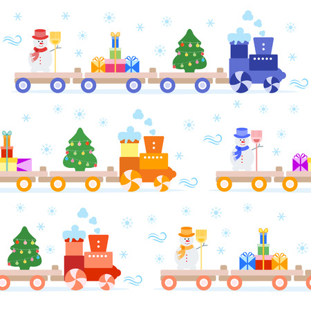 Seamless pattern with Christmas train carries Christmas tree, snowman with broom, gifts. Happy New Year 2019, Christmas card.