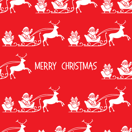 Christmas 2019 seamless pattern. Vector illustration Santa Claus with gifts in sleighs with reindeers. Design for print.