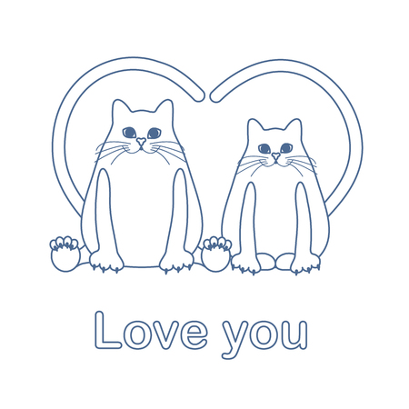 Vector illustration of two cats with heart shaped tails. Love, romantic concept. Happy Valentines Day. Design for greeting card, party card, banner, poster or print.