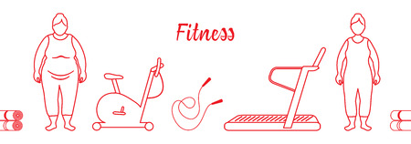Time to fitness and sports. Healthy lifestyle. Women involved in sports. Slimming. Sports equipment: yoga mats, treadmill, exercise bike, skipping pins.