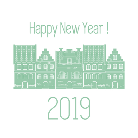 Happy New Year 2019 card. Vector illustration houses. Design for postcard, banner, print. Illustration